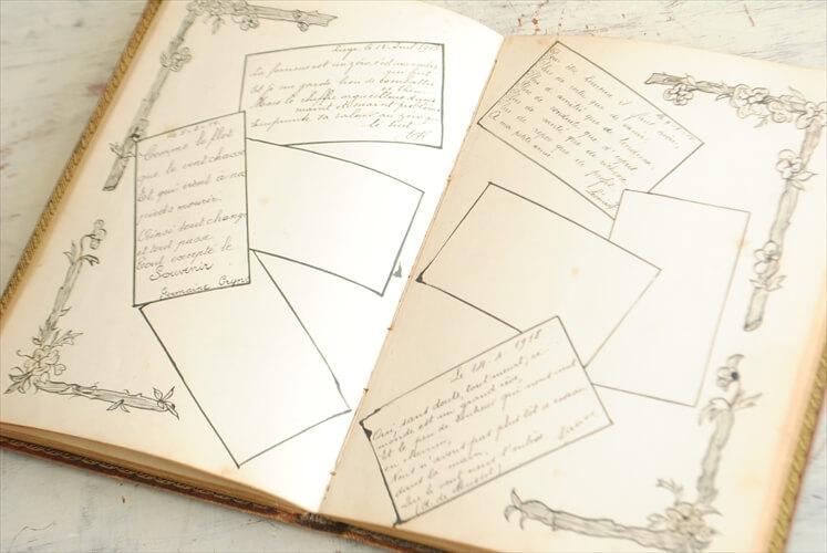 1910年代 フランスの古い日記 イラスト 本革装丁 ディスプレイ 古書 アンティークブック インテリア 撮影小物