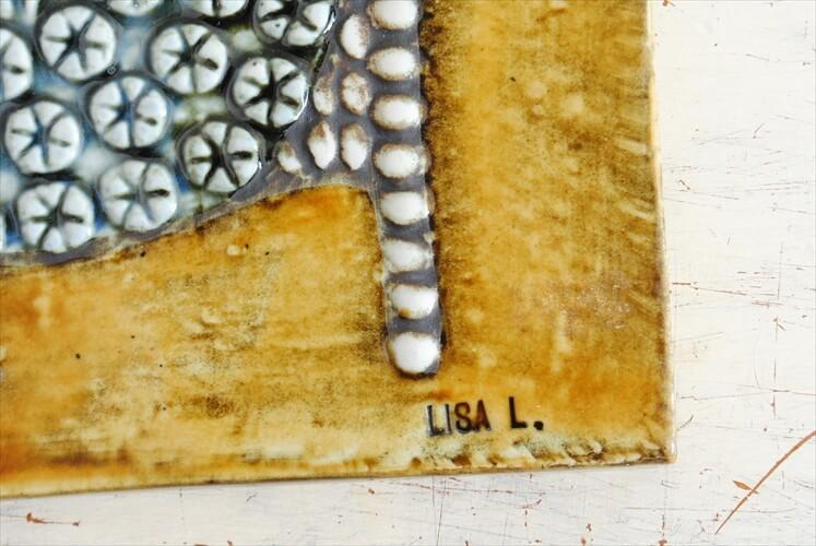 リサラーソン UNIK DAM 陶板 Lisa Larson ユニック 女王 Gustavsverg スウェーデン 北欧アンティーク