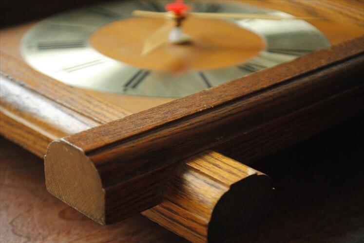 ドイツ買い付け 木製フレーム 壁時計 電池式 壁掛け時計 クロック アンティーク