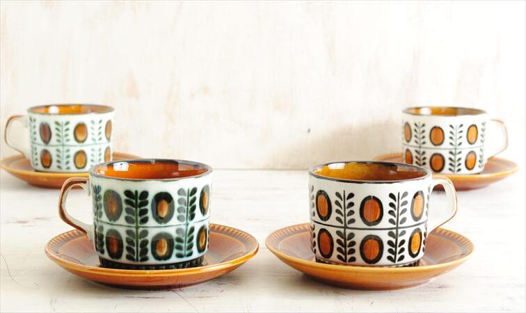 1960年代 BOCH ボッホ NOIX コーヒーカップ&ソーサー ノア 磁器 アンティーク ベルギー