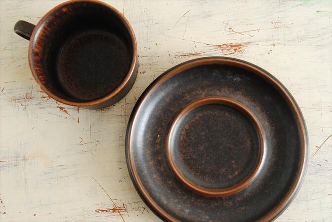 ARABIA アラビア ルスカ デミタスカップ&ソーサー Ruska コーヒー 北欧食器 フィンランド 陶器 ヴィンテージ アンティーク