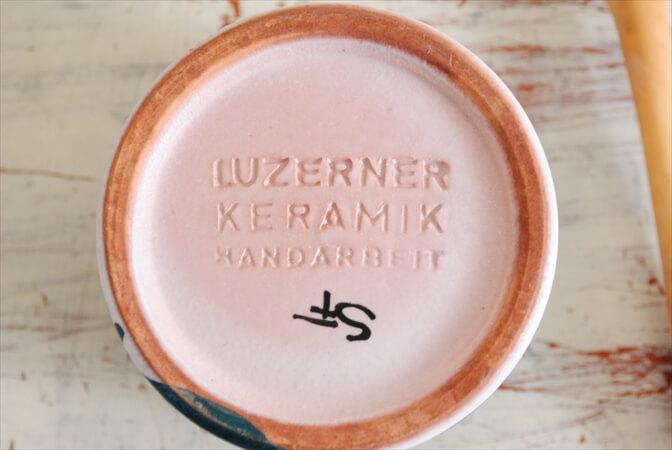 スイス製 LUZERNER KERAMIX ハンドペイント マスタードポット フタ スプーン付き ヴィンテージ アンティーク