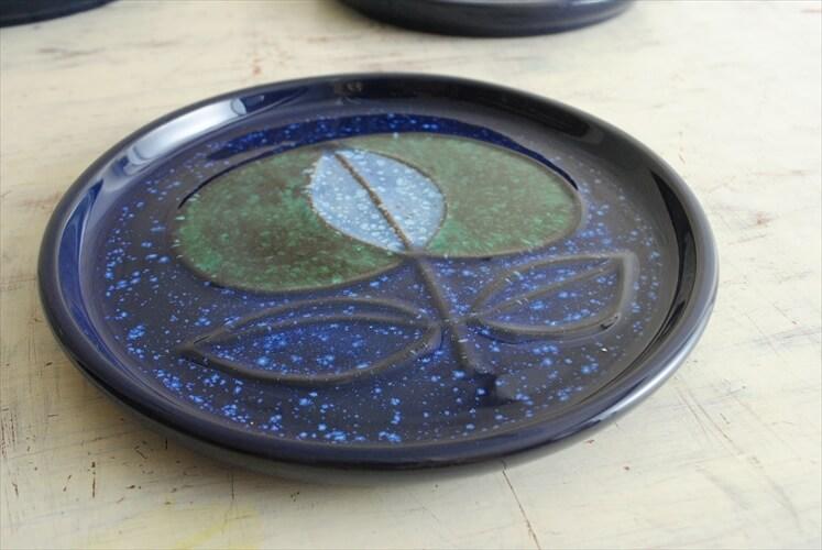 スウェーデン Nittsjo きれいなネイビーのプレート 19cm 北欧食器 お皿 磁器 北欧 ヴィンテージ アンティーク